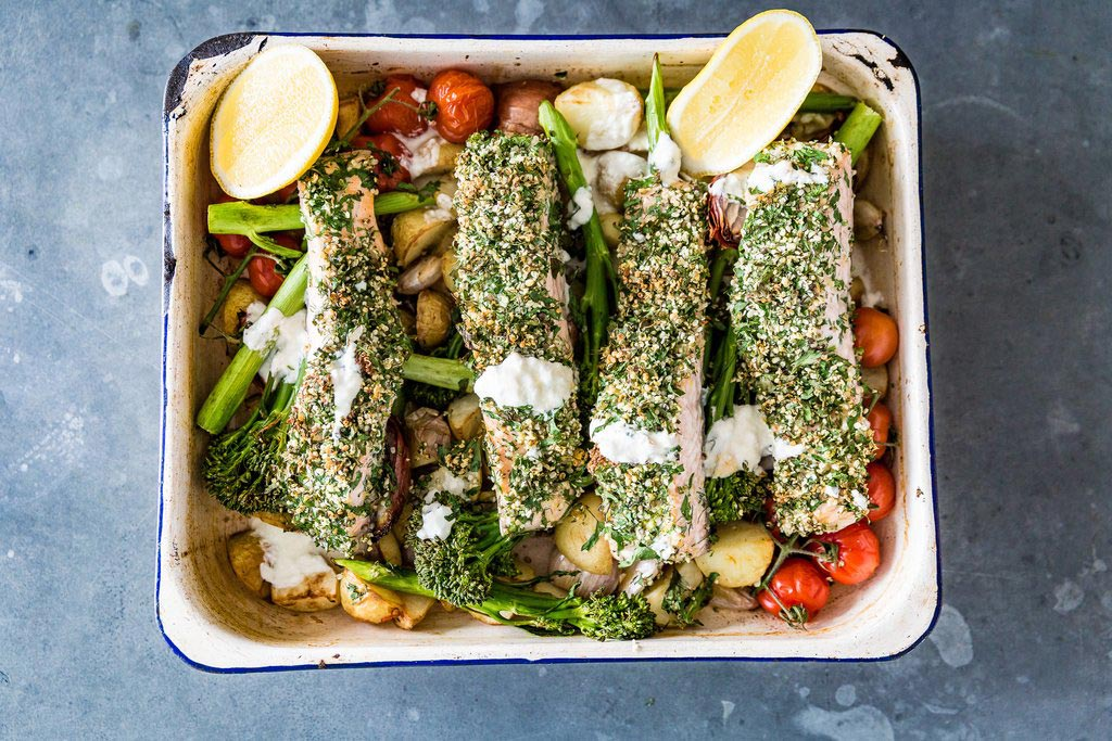 One dish Hemple and herb crusted salmon bake