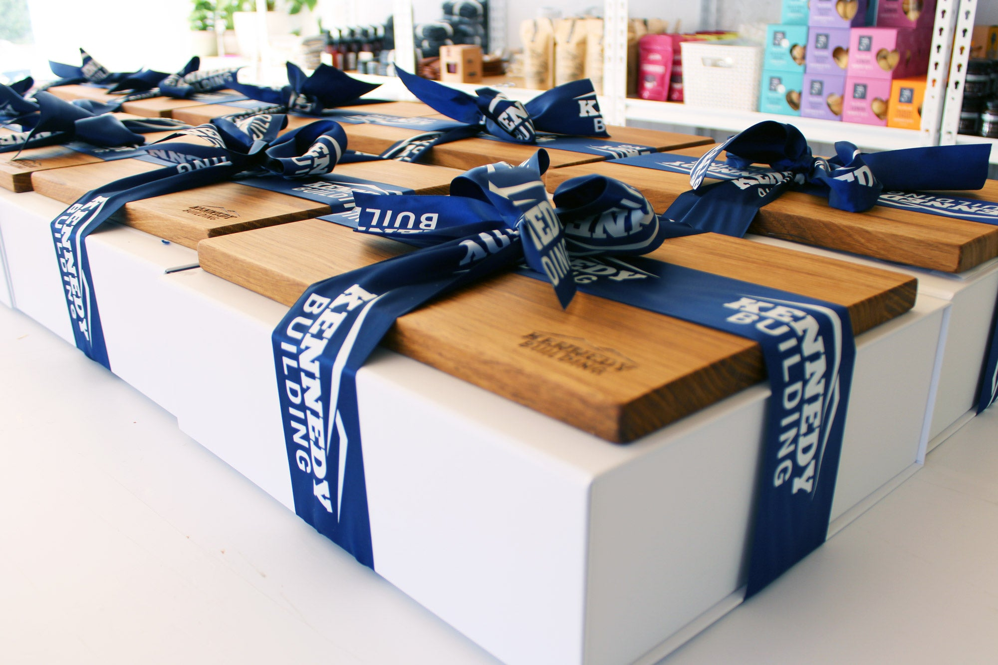 Custom branded gift boxes with custom branded ribbon