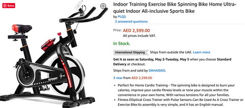 Amazon.ae Indoor Spin Bike