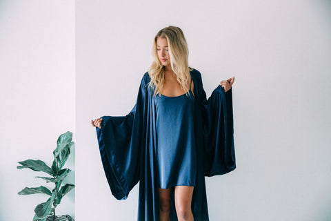 Nudwear Kimono Robe and Slip Dress-navy