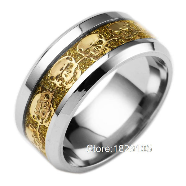Ring Gold Blue Black Skeleton Pattern
