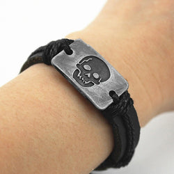 Skull Hand Woven Faux Leather Bracelet