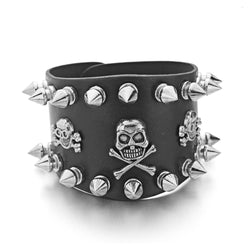 Skull Spiked Leather Bracelet