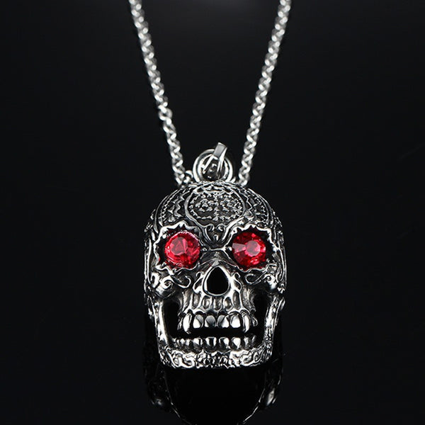 Skull Necklace with Red Eyes