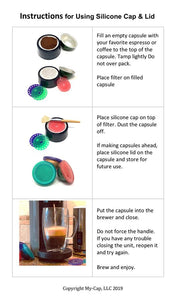 My-Cap's Silicone Caps, Lids, and Filters for Nespresso VertuoLine Brewers (3-Pack)