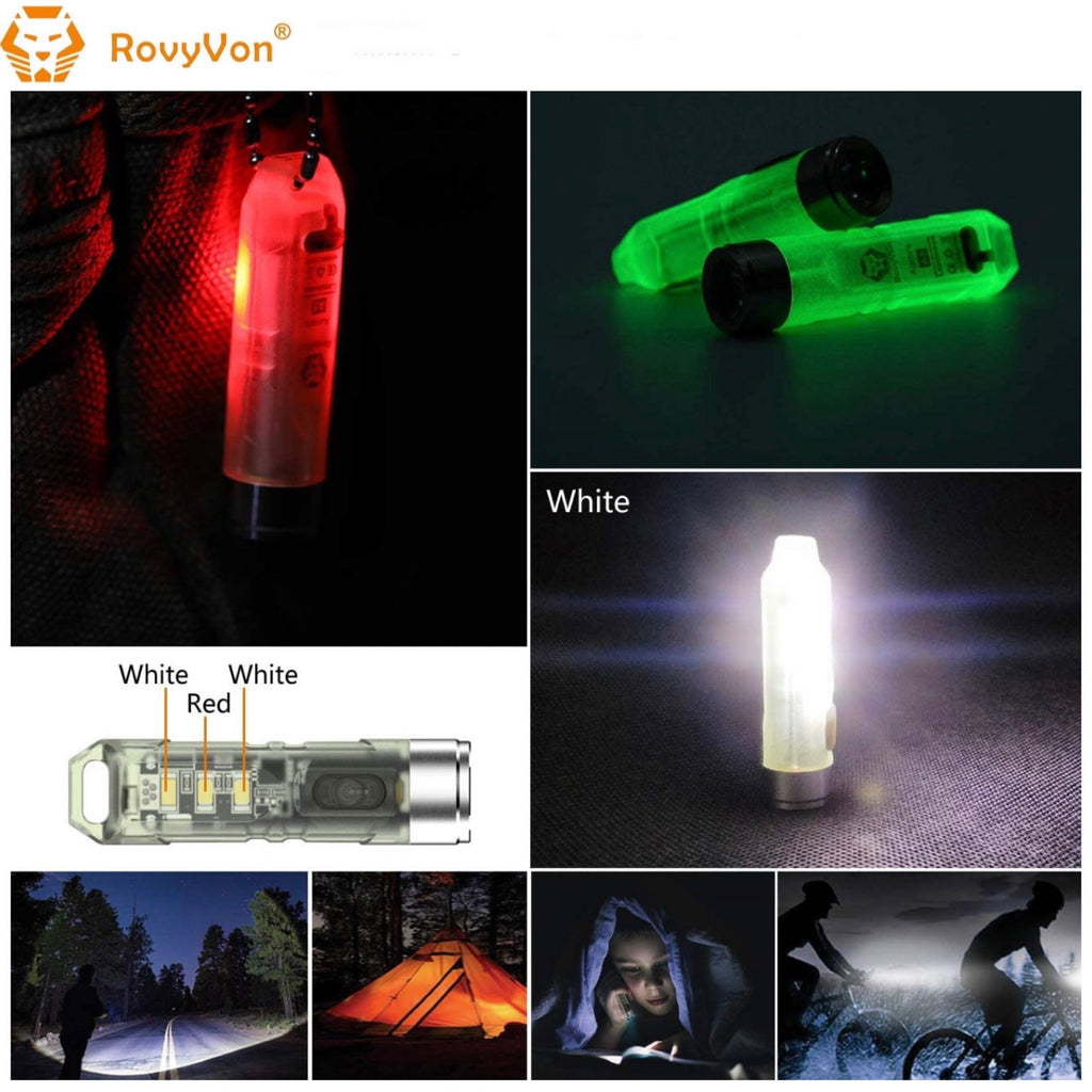 RovyVon Aurora A5x Red/White Green GITD Keychain Flashlight