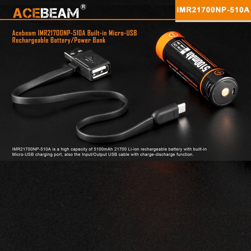 ACEBEAM IMR21700NP 5100mAh 20A High-drain Rechargeable Li-ion Battery