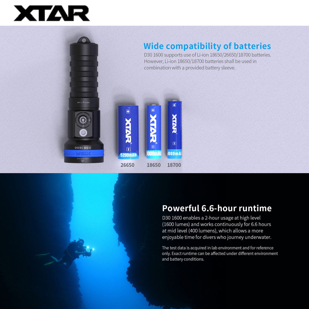 XTAR D30 1600 Multi-color LED Underwater Photography and Video Light