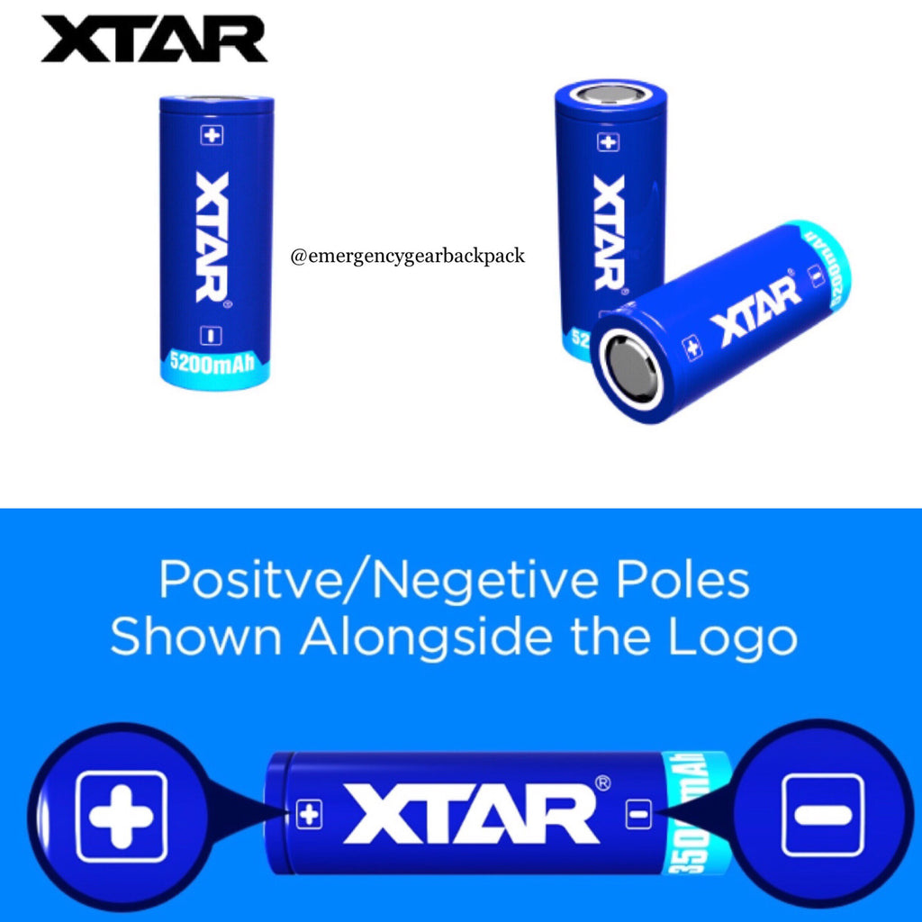XTAR 26650 5200mAh 3.6V Flat Top Protected Rechargeable Battery