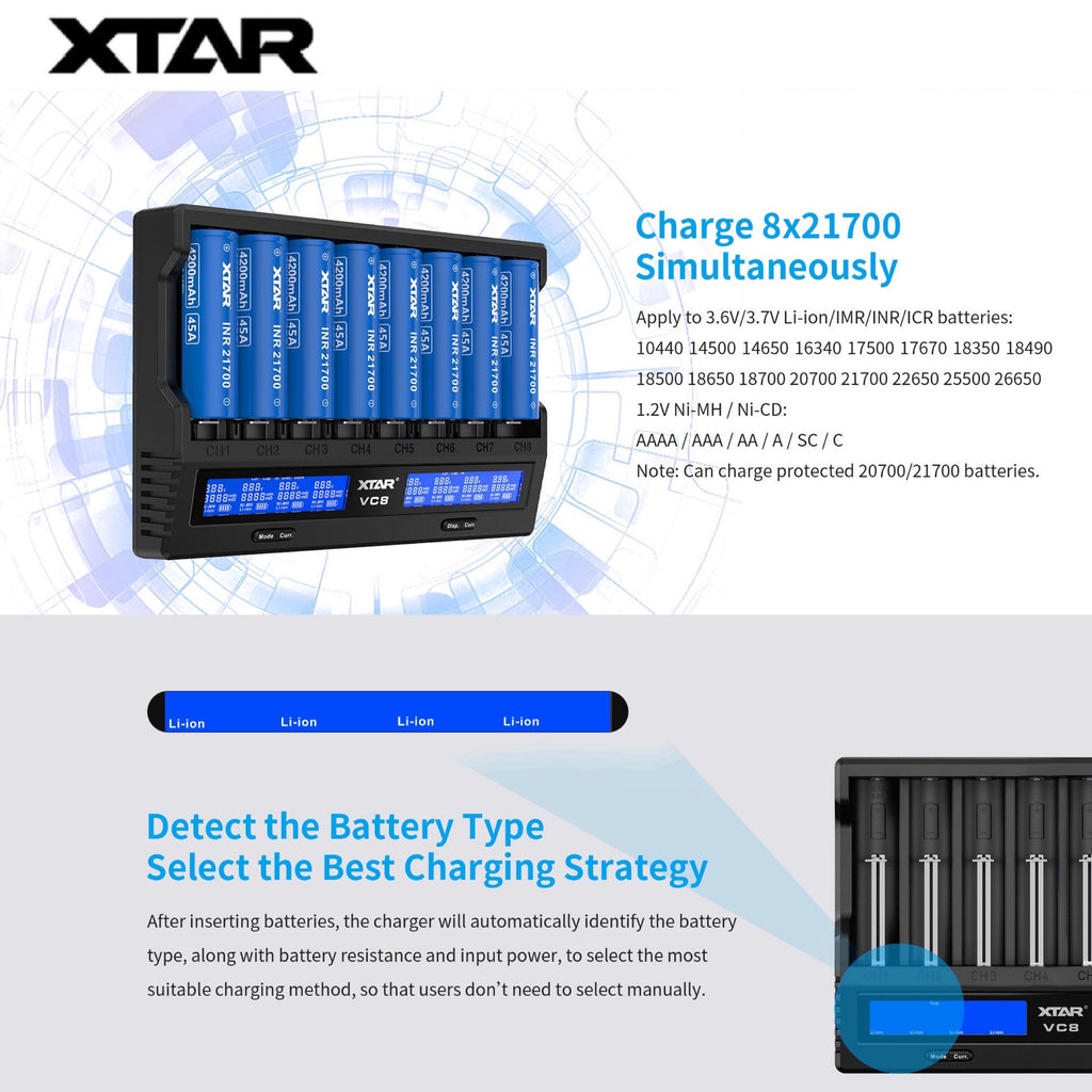 XTAR VC8 + 18W Wall Adapter QC3.0
