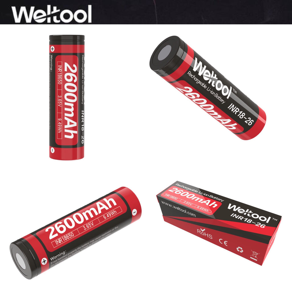 Weltool INR18-26 18650 2600mAh 3.65V Rechargeable Battery