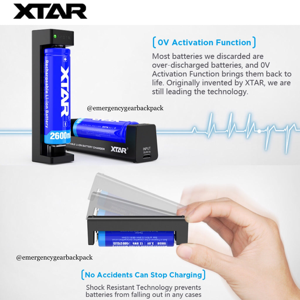 XTAR MC1S - 1A Smart Battery Charger USB