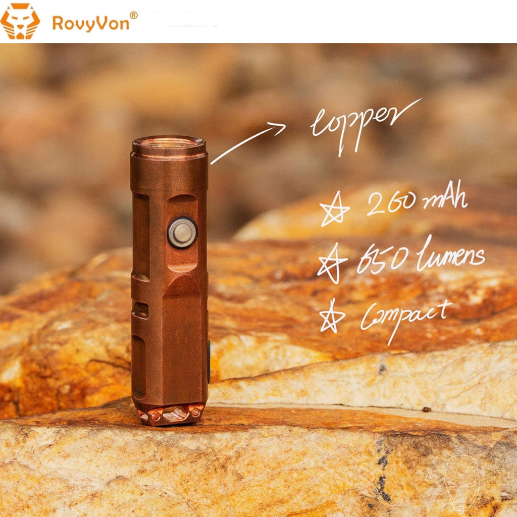 RovyVon Aurora A9 Copper EDC Keychain Flashlight