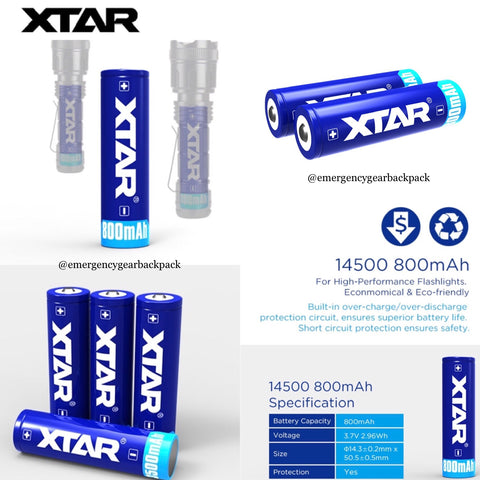XTAR 14500 800mAh 3.7V li-ion Battery