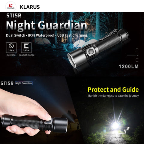 Klarus ST15R 1200LMS 16900CD 260M Multifuntion Flashlight