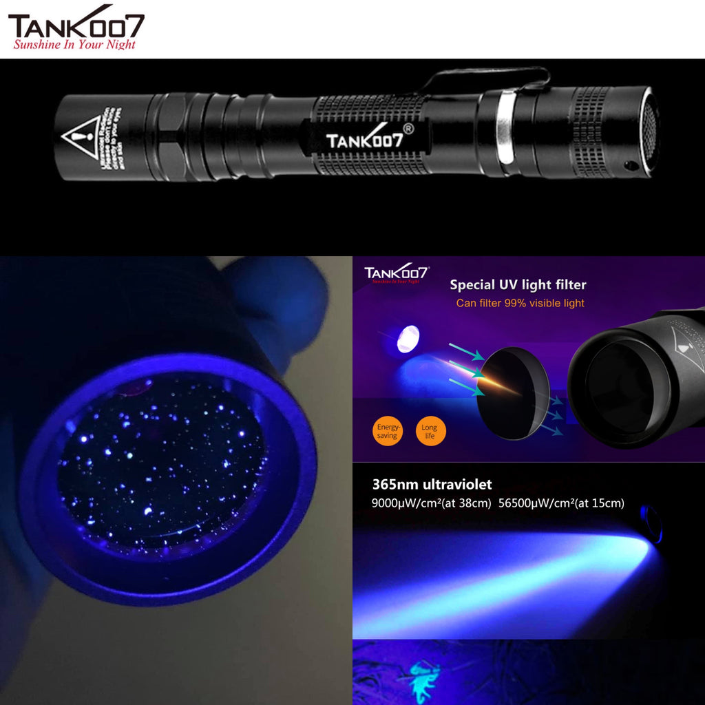 TANK007 UV-AA02 365nm 3W High Power Pure UV Flashlight