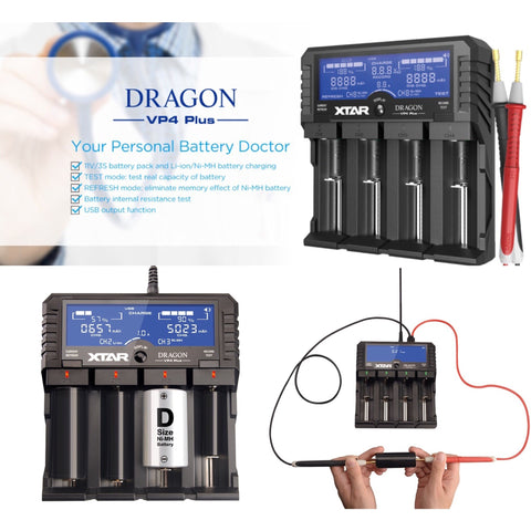 XTAR DRAGON VP4 Plus - Smart Battery Doctor