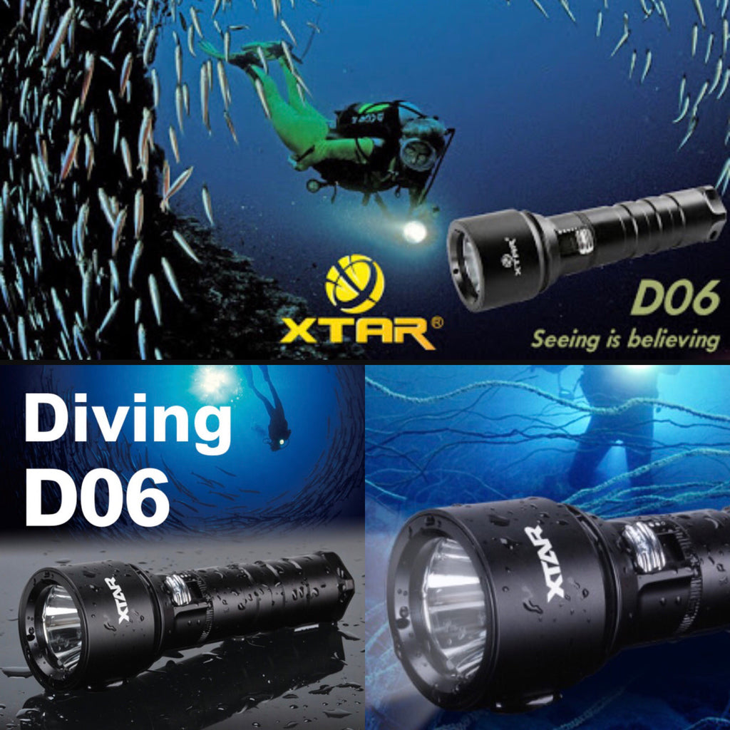 XTAR D06 900lm 23500cd Throw Beam 306m Diving Flashlight