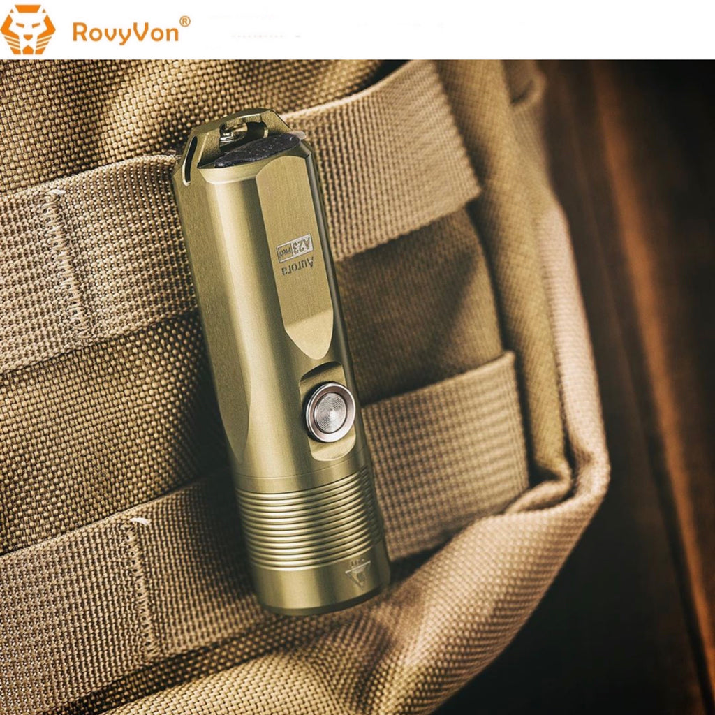 Rovyvon Aurora A23 Pro Aerospace 7075 Al Military Tan EDC Flashlight