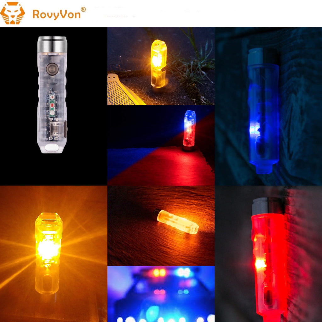RovyVon Aurora A8x Nichia 219C Amber+Red+Blue Multifunction EDC Keychain Flashlight