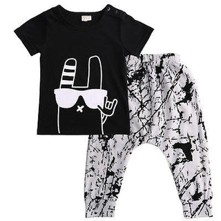 Baby Toddler Boys or Girls NZ High 5 Print Top + Pants Set (4 - 24 Months)