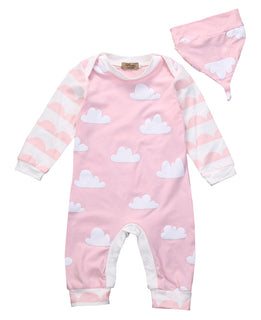 Girls NZ Pink Cloud Print Onesie (0 - 18 Months)
