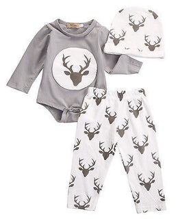 Baby Toddler Unisex Boys or Girls NZ Deer Print Onesie + Pants Set (0 - 18 Months)