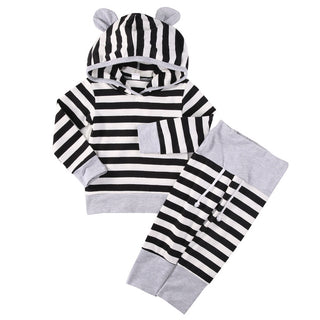 Baby Boys Clothing NZ Striped Hoodie + Pants Set (4 - 24 Months)