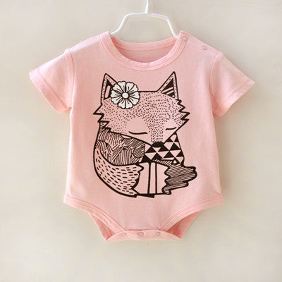 Girls NZ Fox with Flower Print Onesie (3 - 9 Months)