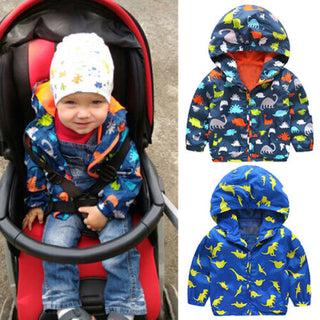 Boys NZ Cool Dinosaur Hooded Waterproof Windbreak Jacket (3T-6T)