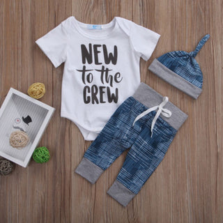 "Boys NZ ""NEW to the CREW""  Onesie  + Pants Set (6 - 18 Months)"