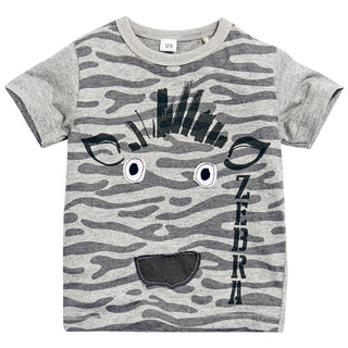 Boys  NZ Cool Gray Zebra T-Shirt (18 Months-6T)