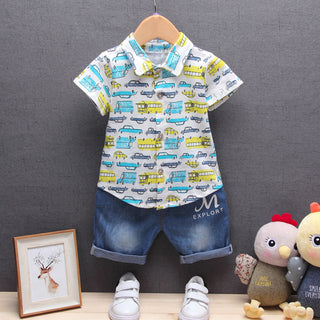 Boys NZ Car Print T-shirt Tops + Denim Pants  Set (6 - 24 Months)
