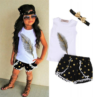 Girls NZ Feather Printing Top+ Short+Bow-knot Headband Set (24 Months - 6T)