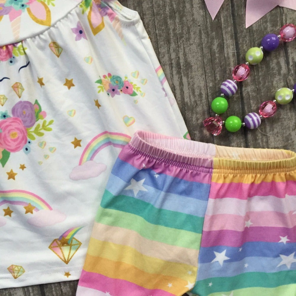 Girls NZ Rainbow Unicorn Outfits with Accessories (12 Months-8T)