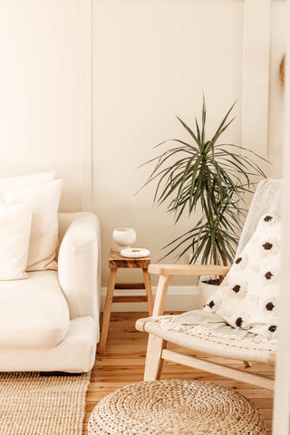 White linen couch, minimalist style