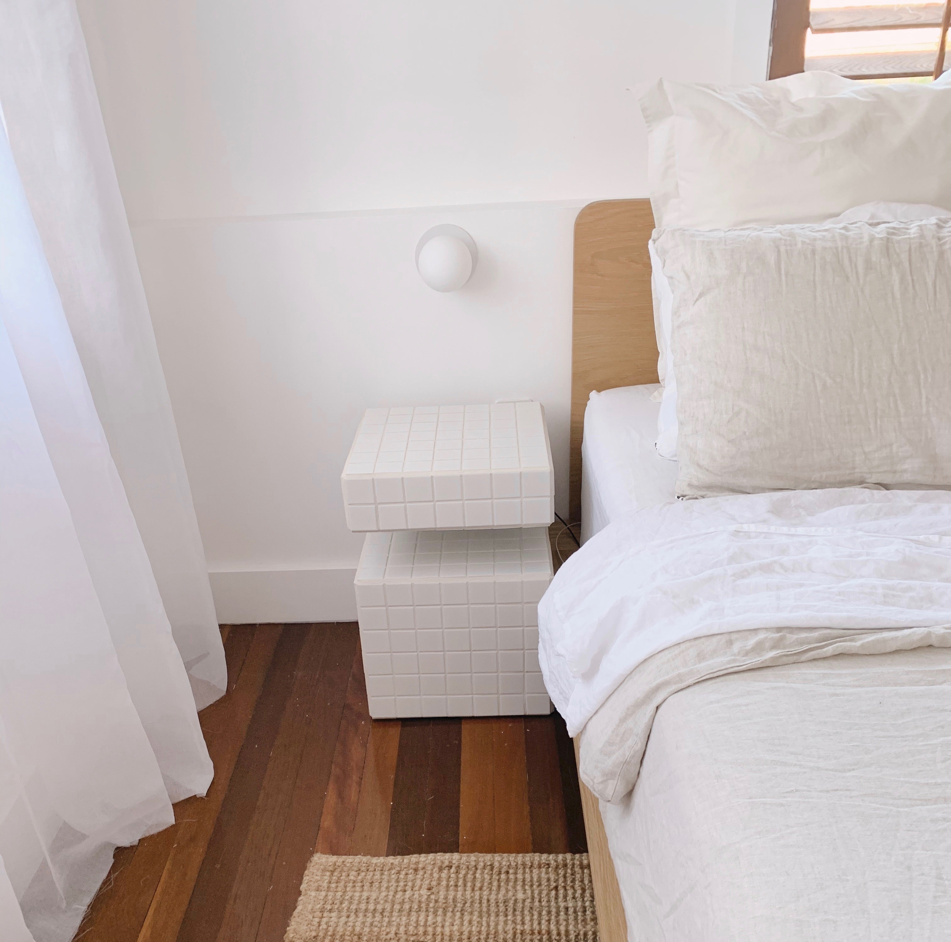 Eva Bed Frame and Hemp Linen with tiled bedside table from Geebungalow