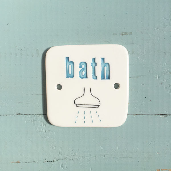 bath sign - blue