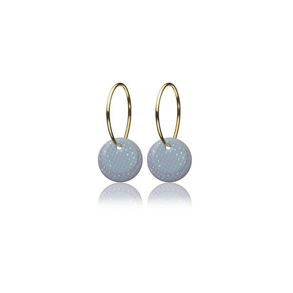 Grid earrings - grey and blue