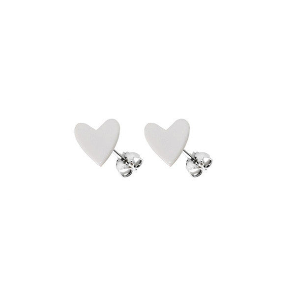Heart earring - white