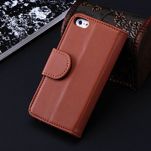 Wallet Pouch Style Flip Leather Case For iPhone 6 6S Plus 5 5S SE 5C 4 4S Photo Frame + Card Slots Stand Magnetic Cover