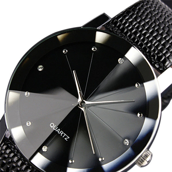 Men Luxury Quartz Stainless Steel Dial Leather Band Wrist Watch