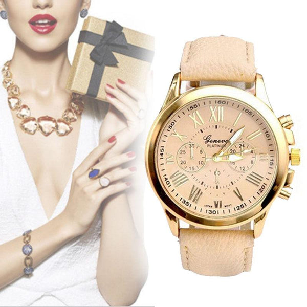 Fashion Women Leather Band Stainless Steel Quartz Analog Wrist Watch