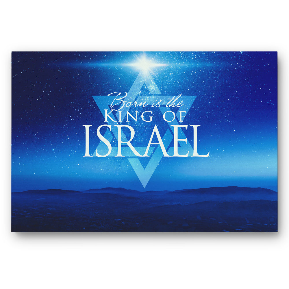 """Born Is The King Of Israel"" Starry Night Over Israel Mountains - 24x16 Gallery Wrapped Canvas"