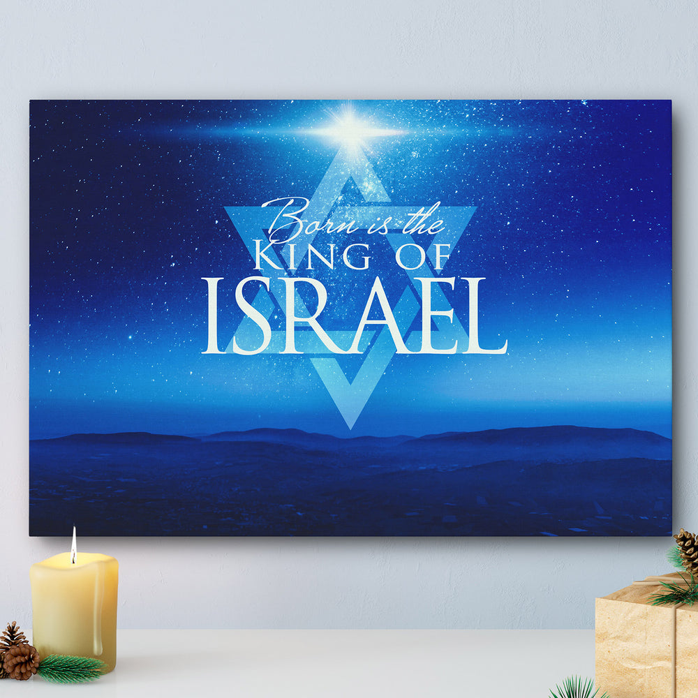 """Born Is The King Of Israel"" Starry Night Over Israel Mountains - 24x16 Gallery Wrapped Canvas Art"