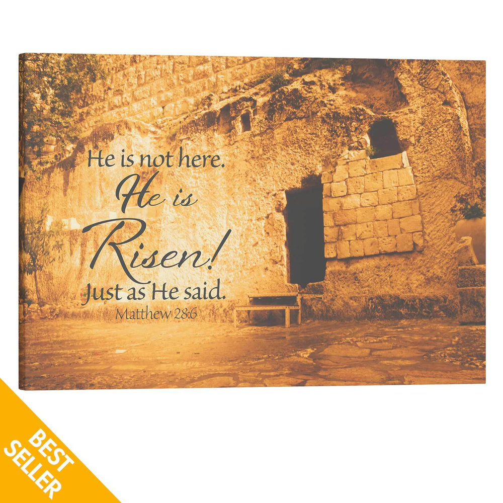 He is Risen art, Garden Tomb canvas art, Christian Easter decor, Resurrection Day decoration, Jesus art, Yeshua canvas wrap, Christian canvas art, Israel home decor, Bible wall art, Scripture wall art, Matthew 28:6