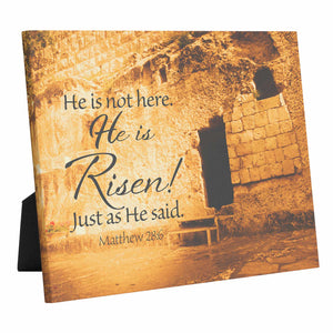 """He Is Risen"" Garden Tomb - 10x8 Tabletop Canvas Art"