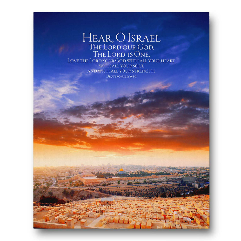 """Hear, O Israel"" The Greatest Commandment Over the City of Jerusalem - Gallery Wrapped Canvas Art"