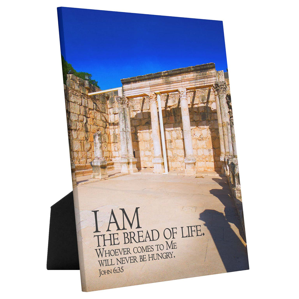 I Am the Bread of Life tabletop canvas, Christian wall art, sea of Galilee art, Capernaum art, Messianic art, Jesus art, Bible verse art