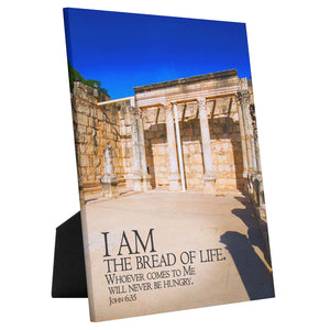 Load image into Gallery viewer, I Am the Bread of Life tabletop canvas, Christian wall art, sea of Galilee art, Capernaum art, Messianic art, Jesus art, Bible verse art